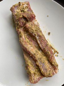 Schweinebauch mit Dijonsenf/Cumin
